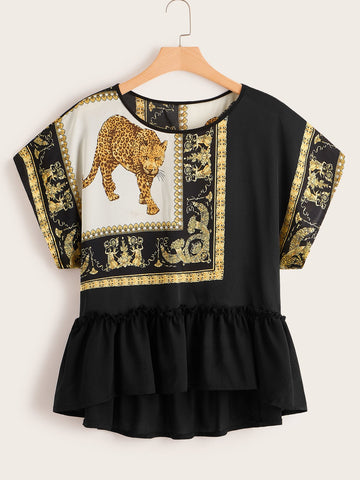 Plus Animal  Layer Blouse