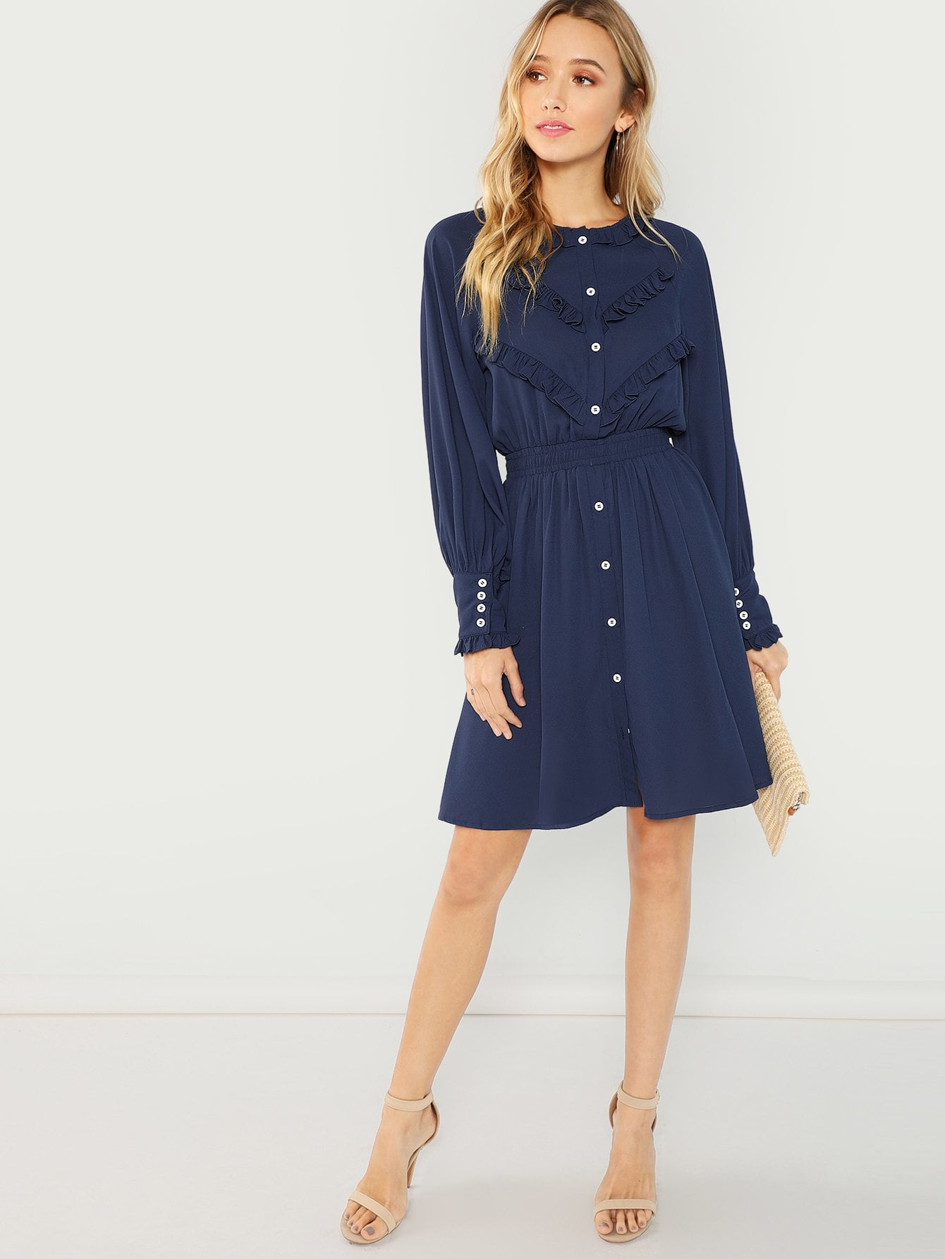 Button Front Solid Dress - hashtag