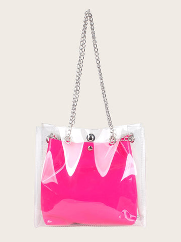 Clear Tote Bag With Inner Pouch - hashtag