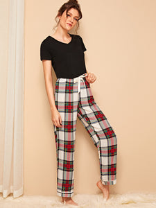 Top & Tartan Pants PJ Set