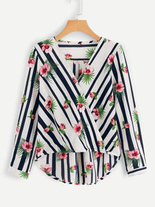 Plus Striped & Floral Print Dip Hem Blouse