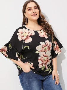 Plus Flower Print Blouse