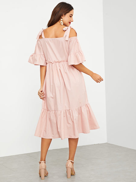 Shoulder Ruffle Trim Dress