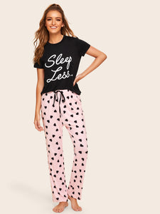 Print Top & Drawstring Waist Pants PJ Set