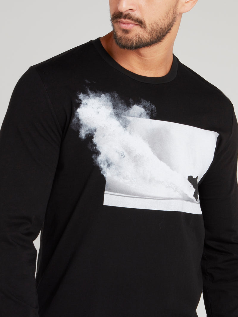 Black Graphic Print Long Sleeve T-Shirt