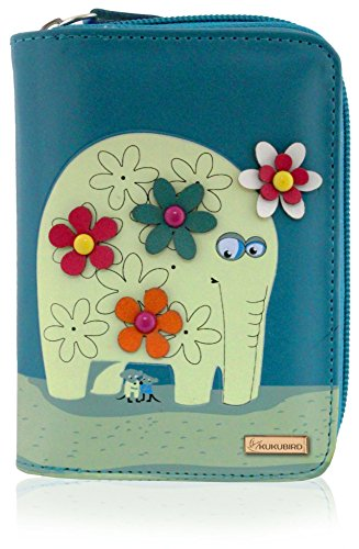 Kukubird Medium Purse Elephant And Mouse Purse - Blue-Kukubird_uk