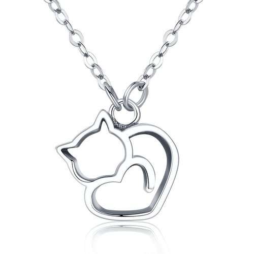 Sterling Silver Sleeping Cat Heart Pendant Necklace