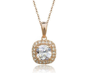 Rose Gold Classic Crystal Pendant Necklace