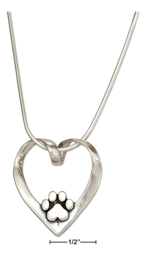 Sterling Silver Heart with Dog Paw Print Slider Pendant Necklace