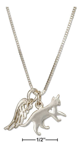 Sterling Silver Cat and Angel Wing Pendant Necklace