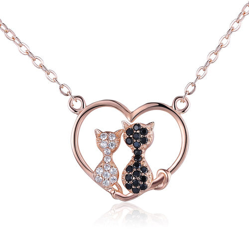 Swarovski Crystal 14K Rose Gold over Sterling Silver Cats Pendant Necklace