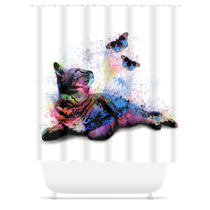 Cat 614 Shower Curtains