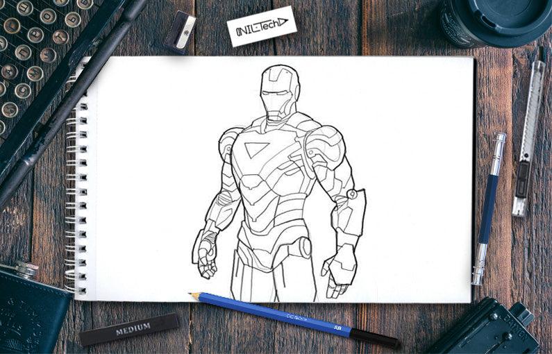 How to draw Iron Man Mk. VI pencil sketch