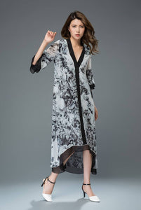 Floral chiffon dress, flower print dress, maxi dress, loose dress, casual dress, day dress, long dress, asymmetrical dress C918