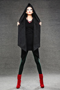 Black Winter Pea Coat - Wrap Around Short Hooded Womens Coat with Asymmetrical Hem (C038)