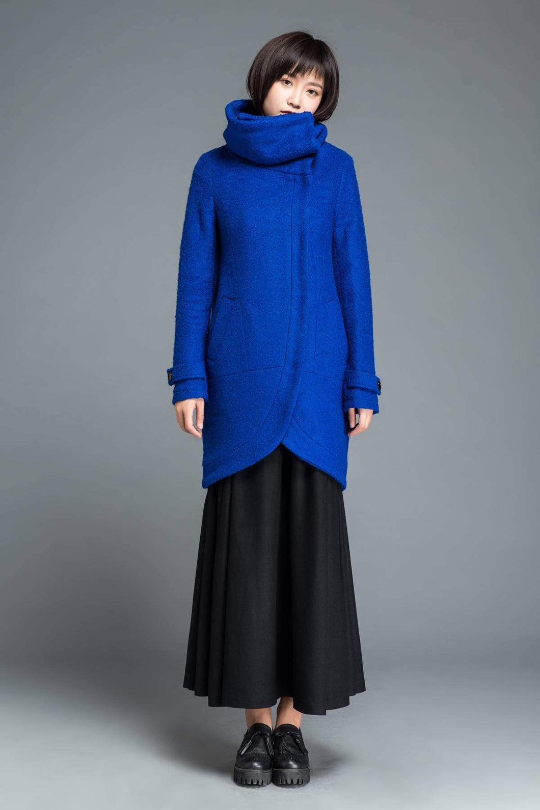 Blue Wool coat, winter wool coat, women wool warm coat, asymmetrical wool coat, winter wool coat, blue coat, cowl neck coat  C1211