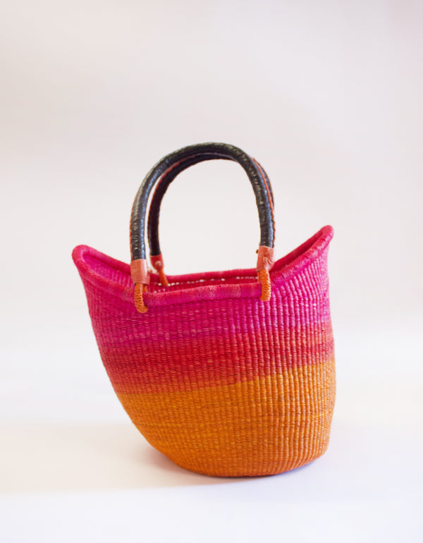 Baba Tree Dip Dye Basket Hot Pink Orange Ombre