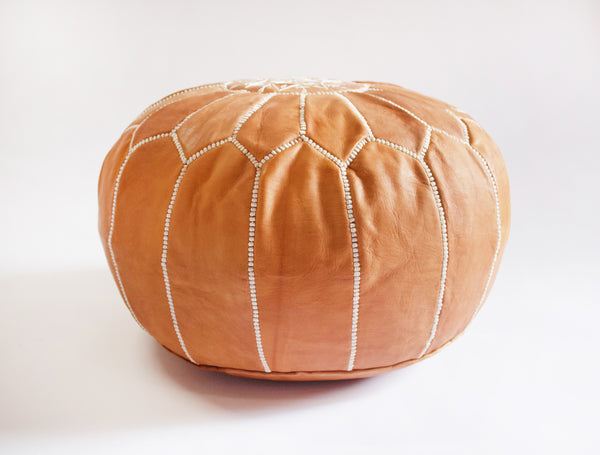 Caravan West Leather Pouf Tan & White