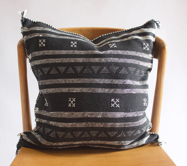 Embroidered Pillow B & W