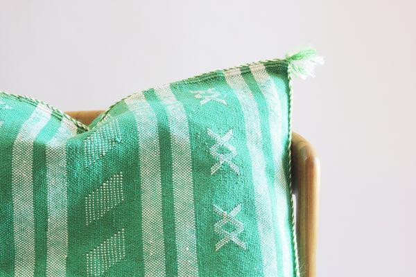 Embroidered Pillow Green