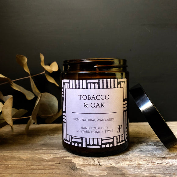 Tobacco + Oak scented natural wax candle