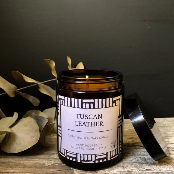 Tuscan Leather scented natural wax candle