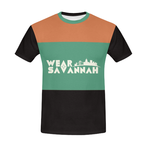 Men's Black, Green & Rust T-Shirt