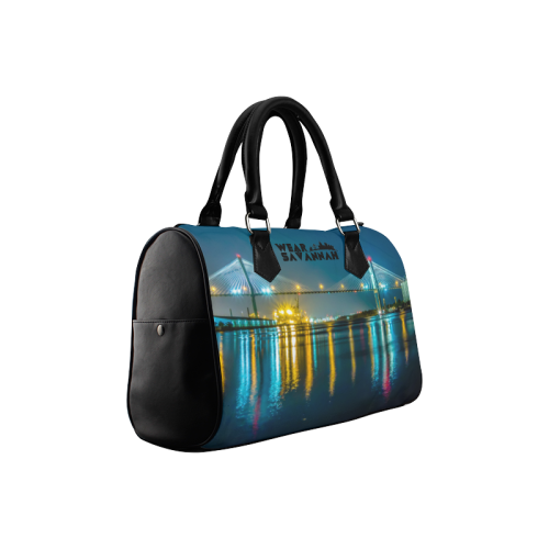 Savannah Bridge At Night Boston Handbag