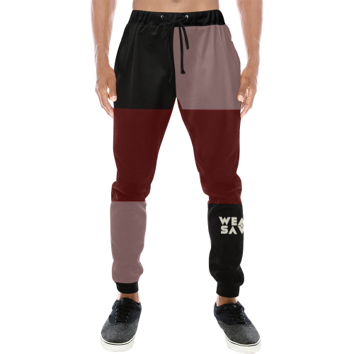 Men's Black & Maroon Sweatpants