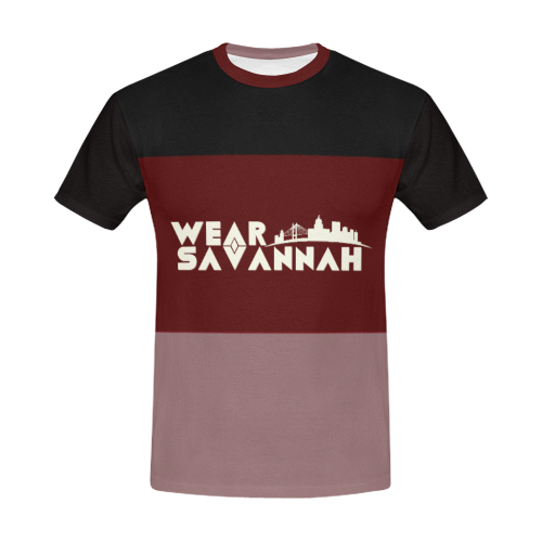 Men's Black & Maroon T-Shirt
