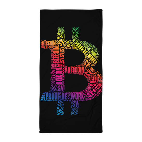 Bitcoin SV Proof Of Work Beach Towel Black
