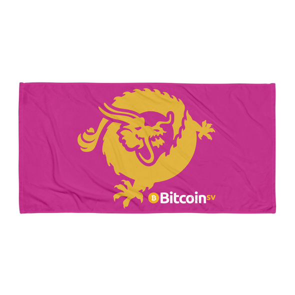 Bitcoin SV Dragon Beach Towel Pink