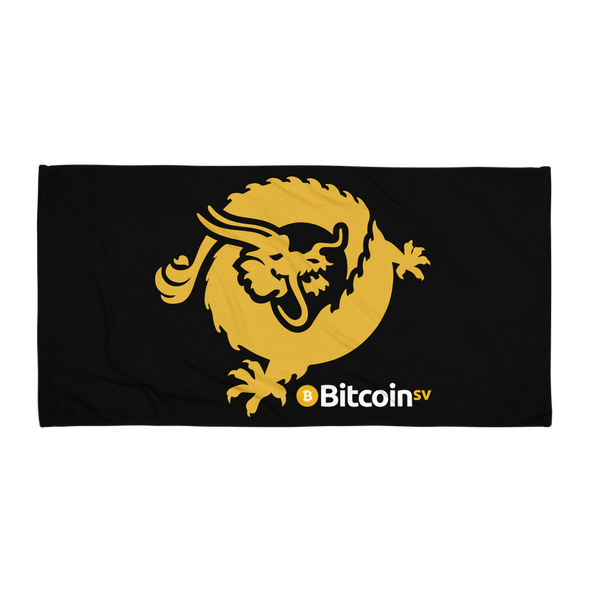 Bitcoin SV Dragon Beach Towel Black