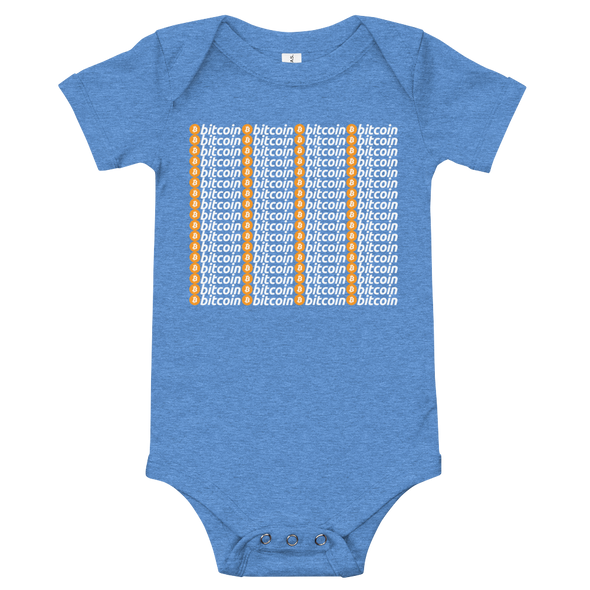 Bitcoin Pattern Baby Bodysuit Heather Columbia Blue 3-6m - zeroconfs