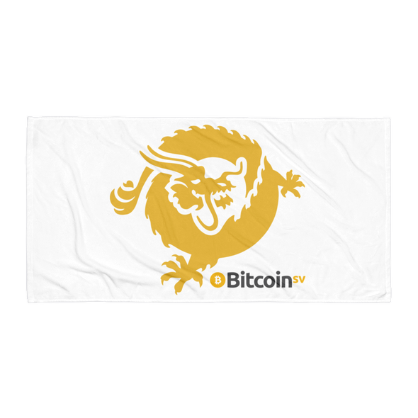 Bitcoin SV Dragon Beach Towel White