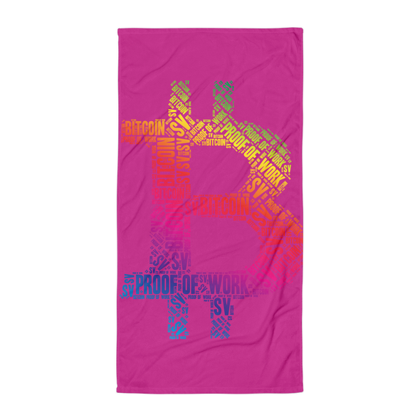 Bitcoin SV Proof Of Work Beach Towel Hot Pink