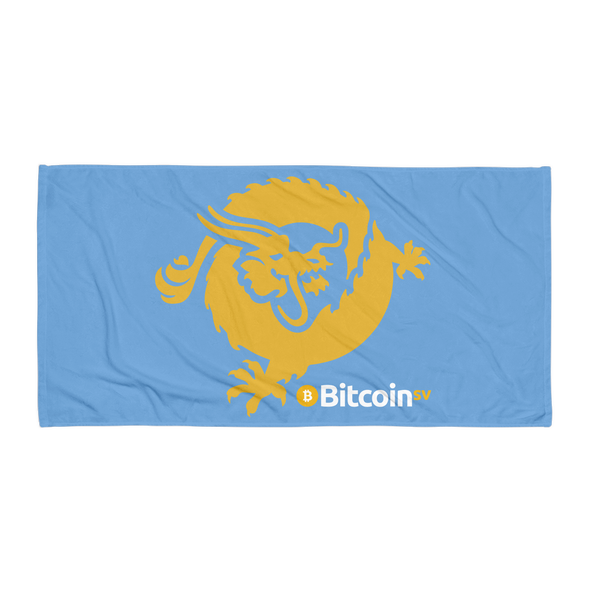 Bitcoin SV Dragon Beach Towel Blue