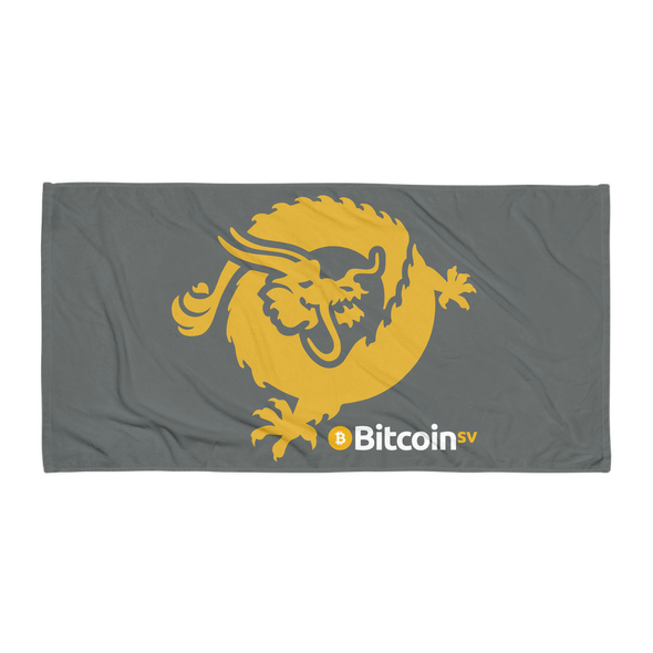 Bitcoin SV Dragon Beach Towel Gray