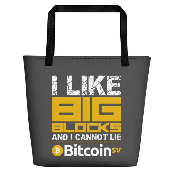 I Like Big Blocks Bitcoin SV Beach Bag Black  - zeroconfs