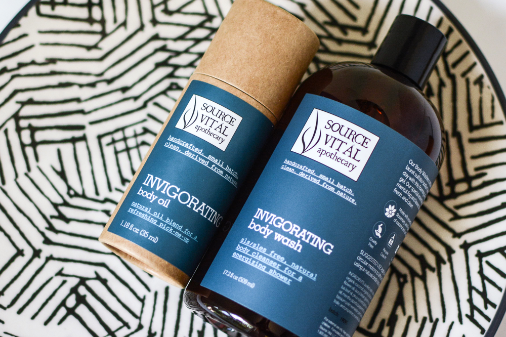 Invigorating SLS SLES Free Body Wash and Cooling Body Oil by Source Vital Apothecary