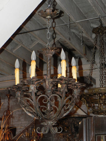Vintage Iron Chandelier for a Tudor French Country or Rustic Home