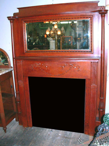 Full Size Antique Oak Fireplace Mantel with Mirror & Unique Capitals