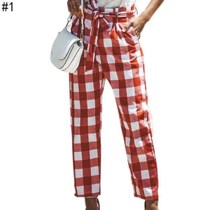 Womens Loose Long Trousers Casual Wide Leg Cotton Plaid High Waist Pants