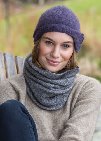 Loop / Moss Stitch Neck Warmer Merinowolle Possum (Opossum)