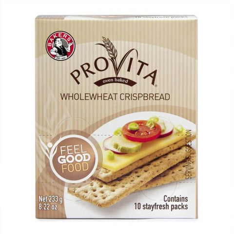 Bakers (Pyotts) Provita Whole Wheat Crispbread (Pack of 10 Stay Fresh Packs) (Kosher) (CASE of 12 x 233g)