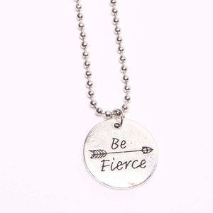 Be Fierce Engraved Circle Necklace