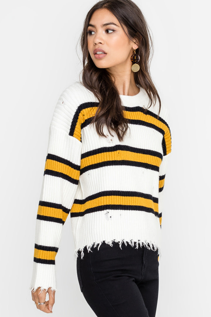 Lush | White Distressed Striped and Ribbed Sweater
