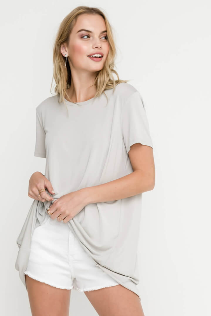 Lush | Grey Open Back Knit Top