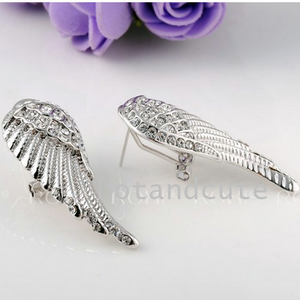Lovely Angel Wing Long Earrings White Rose Gold Plated with Swarovski Crystals