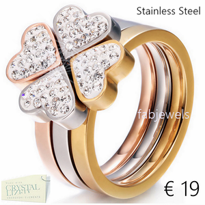 Stainless Steel 316L 3 in 1 Heart Flower Puzzle Ring with Swarovski Crystals